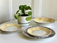Gefle社製ミモザMIMOSA深皿とケーキ皿(黄色) - 北欧ヴィンテージ.あ!いいって!む!アイテムたち