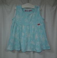 402.ブルー白花柄ワンピース - フリルの子供服