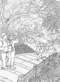 2019新宿御苑の桜スケッチ線描 - あおいとりスケッチ