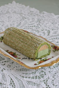 抹茶と黄粉のロールケーキ - 名古屋のお菓子教室 ma favorite