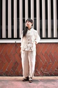 Veritecoeur::Linen Chambray Vest&One-piece,Pin-Tuck Blouse - JUILLET