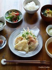 筍の天ぷら、春野菜と小海老のかき揚げ定食と、今日のおやつ♪ - キッチンで猫と・・・
