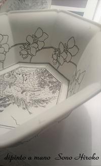 八角鉢呉須の途中経過☆ - Italian styleの磁器絵付け
