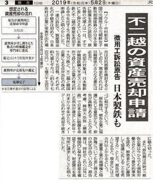2019.5.1 不二越 韓国資産売却手続き申請 - 不二越強制連行・強制労働訴訟を支援する北陸連絡会