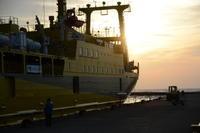 今朝の三池港 - 三宅島風景