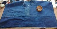 大きいサイズの襤褸ワンピース制作中 - 古布や麻の葉