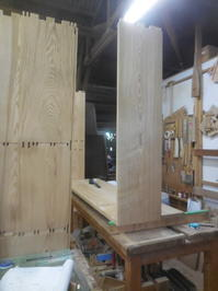 食器棚の加工の続き。 - 手作り家具工房の記録