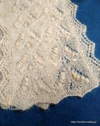 ハープサルレース編みのストール仕上がりました♪ - ルーマニアン・マクラメに魅せられて
