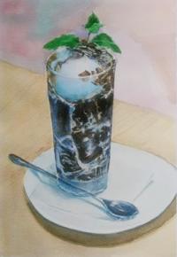 美味しいコーヒーゼリー - まり子の水彩画