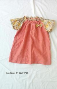 リネンとリバティのギャザースモック 130サイズ - 子ども服と大人服 KONO'N