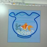 金魚鉢には金魚を(^^) - ソライロ刺繍