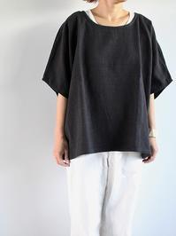 Worker's NobilityAngie shirt / Black 100% linen - 『Bumpkins putting on airs』
