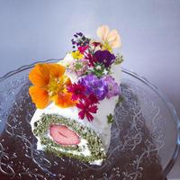 抹茶のイチゴロールケーキ - 黒豆日記
