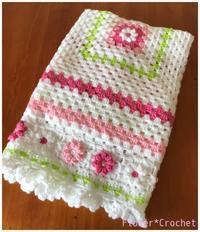 プチフラワーのブランケット☆ - Flower*Crochet