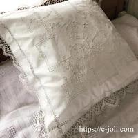 フランスアンティーク手刺繍リネン&ボビンレースピローケース/クッションケース - Antique C'Joli