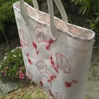〇ポピー柄のトートバッグ♪ - kotsu-kotsu handmade