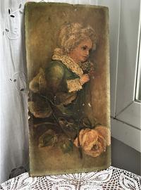 少女とバラのオリジナル油絵 - スペイン・バルセロナ・アンティーク gyu's shop