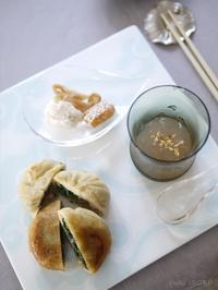 蟹と小松菜の焼餅 - お茶をどうぞ♪