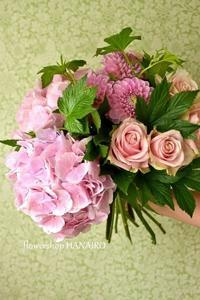 アジサイ「ベレーナピンク」を使った両親贈呈用の花束♪ - 花色~あなたの好きなお花屋さんになりたい~