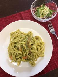 エビのバジルクリームスパゲティ - 庶民のショボい食卓