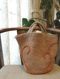 麻糸で編むバッグ、進行中 - ニットの着樂