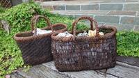 古い葡萄籠に持ち手付け - 古布や麻の葉