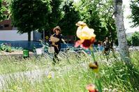 革ジャン女子と自転車通学女子と黄色いアヤメ - 照片画廊