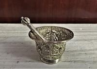 フィリグリー(銀線細工)のミニすり鉢とすりこ木 - スペイン・バルセロナ・アンティーク gyu's shop