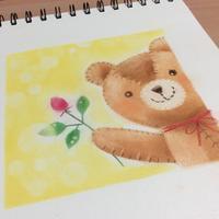 薔薇を手にした熊さんの絵を試作してみました - アトリエ絵くぼの創作日誌