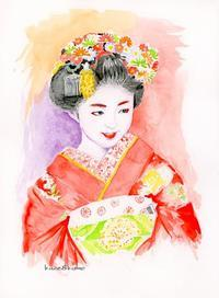 赤い着物の舞妓さん - 風と雲