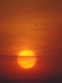 234_夕陽と飛行機 - デザインスタジオ バオバブのスクラップブック