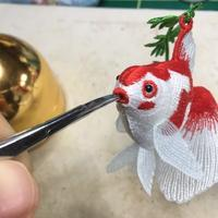 金魚さんの追い込み(-。-; - ソライロ刺繍