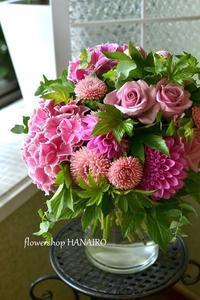 発表会のお祝いにお渡しするアジサイを使ったブーケ。 - 花色~あなたの好きなお花屋さんになりたい~