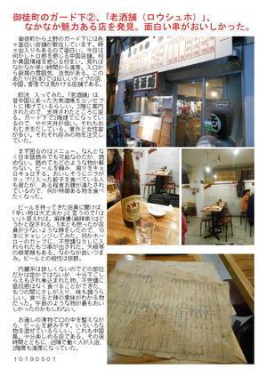 御徒町のガード下②、「老酒舗(ロウシュホ)」、なかなか魅力ある店を発見。面白い串がおいしかった。