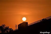 頭上の夕陽 - 夕暮れと蒸気をおいかけて・・・