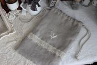 オーダー作品)リネンの刺繍入り巾着 - Petit mame