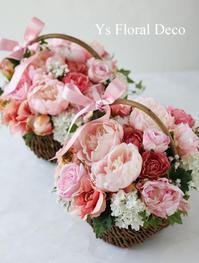 芍薬とバラのバスケットアレンジメント - Ys Floral Deco Blog