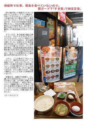 御徒町で仕事、朝食を食べていないので、駅ガード下「すき家」で納豆定食。