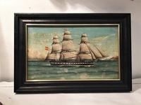 オリジナル帆船の絵入り木製黒額917 - スペイン・バルセロナ・アンティーク gyu's shop