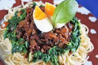 ■夏向けでボリューミー【ゴーヤ肉みそとモロヘイヤでスタミナ満点パスタ】です♪ - 「料理と趣味の部屋」