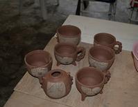 足付きフリーカップなどなど。陶芸作業の日 - 織月紅希の真っ赤な月窯ギャラリー
