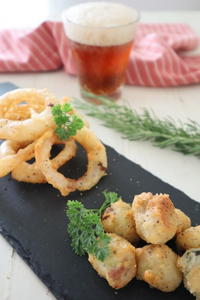 (レシピ)サックサクすぎ♪チーズ香るオニオンリングとそら豆フリッター - おうちカフェ*hoppe