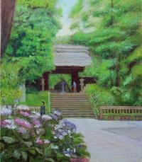 油彩「六月、深大寺で」F102019年7月 - 中島たかじ 絵の世界2