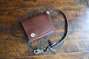 鹿革ウォレットロープ付きコンパクト財布 - dahliacyan