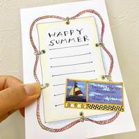 手作りポストカードマリン柄 - アメリカ輸入のシール♪住所/名前/お好きな文字を印刷してお届け♪アドレスラベルです。