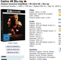 日々雑感7月18日スコセッシ&デ・ニーロの「カジノ」4K UHD。ドイツとスペインで日本語収録ありそう。 - Suzuki-Riの道楽