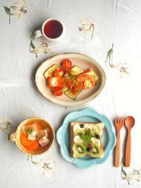 フルーツトーストの朝ごはん - 陶器通販・益子焼 雑貨手作り陶器のサイトショップ 木のねのブログ