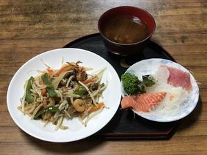野菜炒め&刺身 - 老老介護で奮闘中