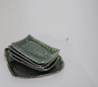 織部の変形大皿、四角皿 - ぼちぼち