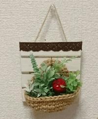 麻ひもカゴの壁飾り - ニット雑貨を楽しむ
